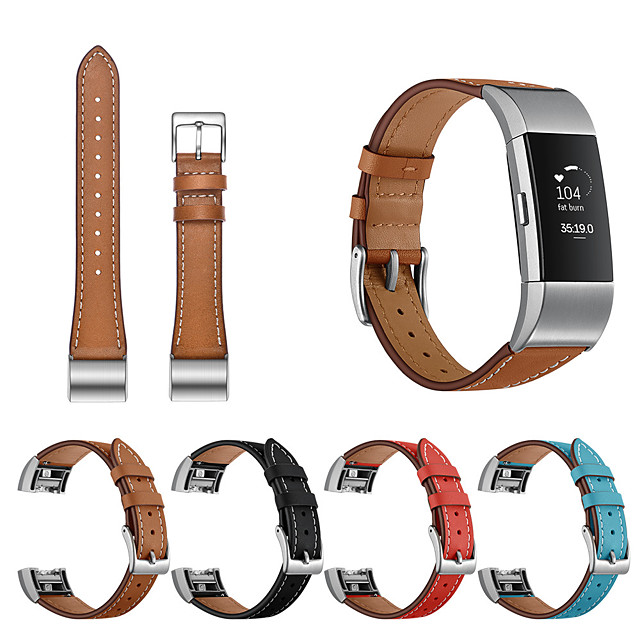 Replacement Bracelet Wrist Strap for Fitbit Charge 2 Modern Buckle Genuine Leather Watch Band