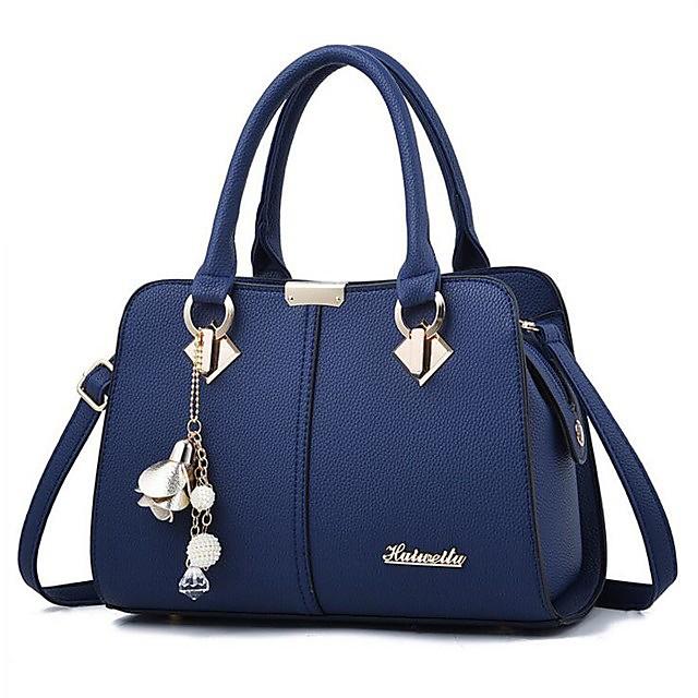 Women's Bags PU Leather Satchel Shoulder Messenger Bag Top Handle Bag Zipper Handbags Daily Wine Black Royal Blue Beige