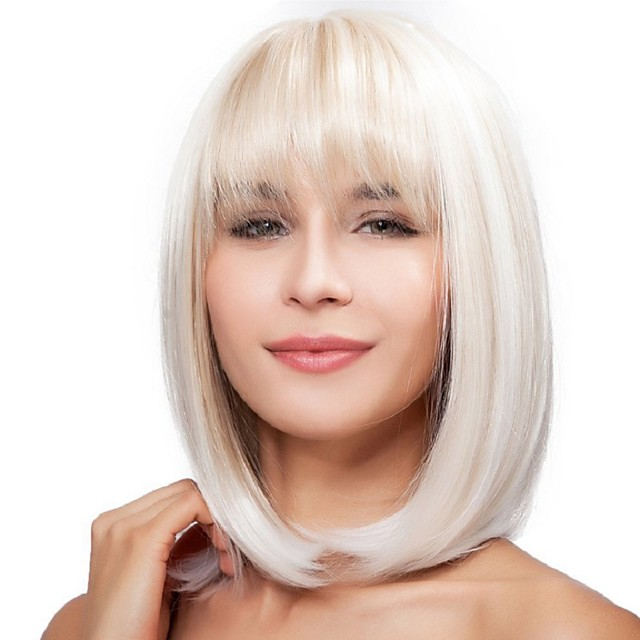 Synthetic Wig Straight Bob Neat Bang Wig Medium Length White Synthetic Hair 12 inch Women's Party New Arrival Comfortable White
