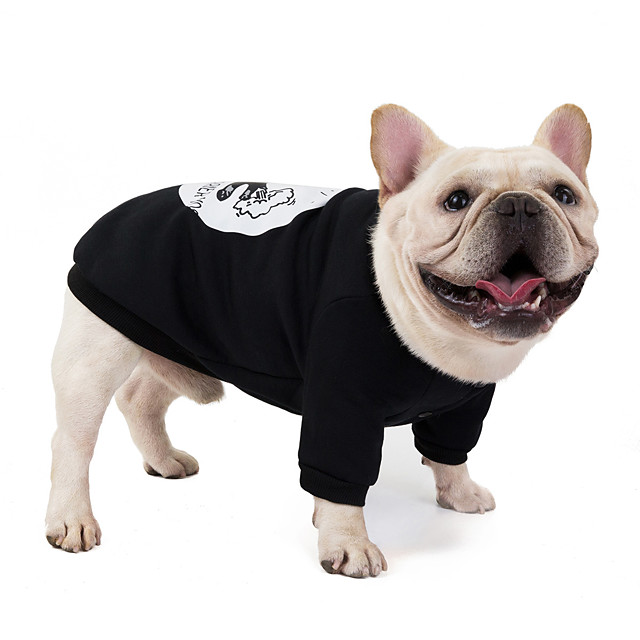 Dog Sweater Sweatshirt Pajamas Cartoon Casual / Sporty Cute Sports Casual / Daily Dog Clothes Warm Black Red Costume Cotton S M L XL XXL