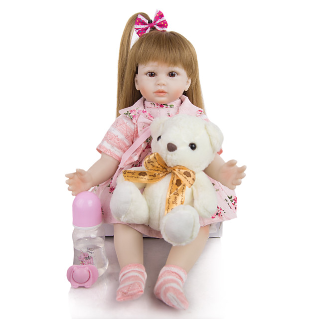 KEIUMI 19 inch Reborn Doll Baby & Toddler Toy Reborn Toddler Doll Baby Girl Gift Cute Lovely Parent-Child Interaction Tipped and Sealed Nails Half Silicone and Cloth Body with Clothes and Accessories