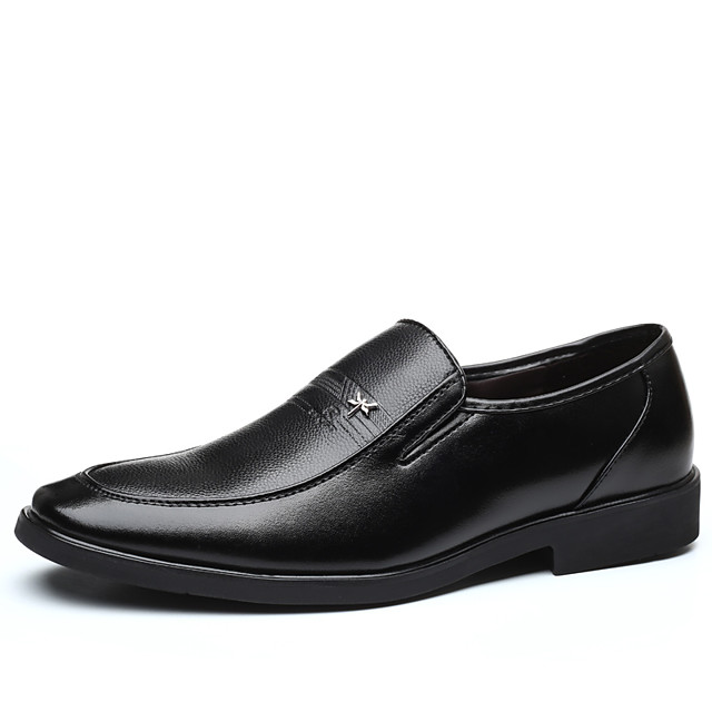 Men's Fall Casual / British Daily Party & Evening Loafers & Slip-Ons Leather Breathable Non-slipping Wear Proof Black / Brown / Square Toe