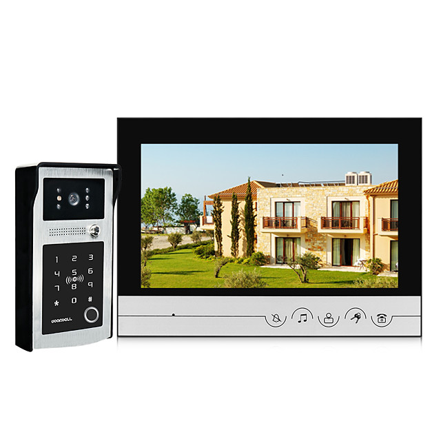 9 inch Touch Button Wired Video Door Phone Visual Video Intercom IC Card Unlock Password Fingerprint With Waterproof Outdoor IR Camera Wide Angle 120