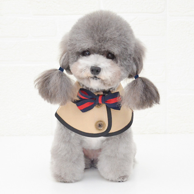 Dog Bandanas & Hats Dog Bandana Dog Bibs Scarf Bowknot Party Cute Wedding Party Dog Clothes Adjustable White Khaki Costume Cotton S M L / Birthday / Birthday