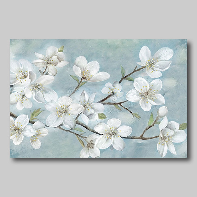 Oil Painting Hand Painted - Abstract Abstract Landscape Comtemporary Modern Rolled Canvas White Blossoms