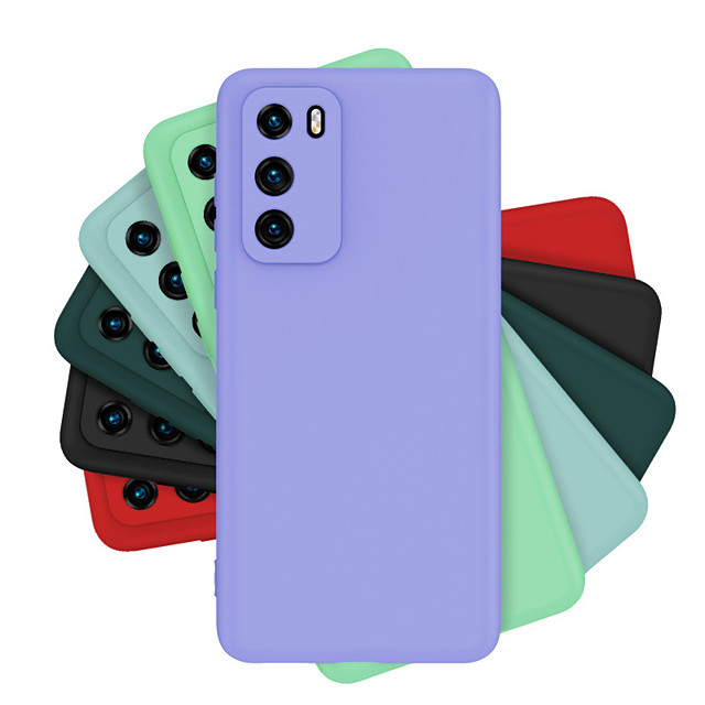 Case For Huawei Y7P Y8P Enjoy10 10S Honor Play3 Play4Pro 20Lite V30 V30Pro  Mate 30 Lite  Nova 6 5G  5iPro  6SE 7i P40Lite P40 P40Pro P40Pro Plus Shockproof Back Cover Solid Colored Silicone