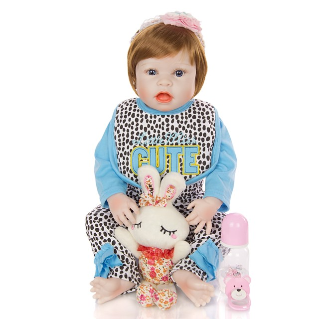 KEIUMI 22 inch Reborn Doll Baby & Toddler Toy Reborn Toddler Doll Baby Girl Gift Cute Washable Lovely Parent-Child Interaction Full Body Silicone D282-C58-H31-T23 with Clothes and Accessories for
