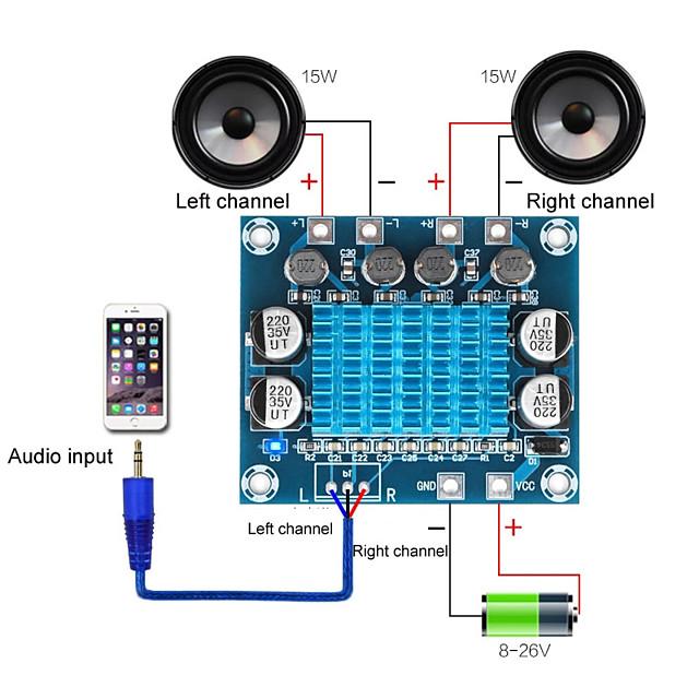 TPA3110 XH-A232 30W30W 2.0 Channel Digital Stereo Audio Power Amplifier Board DC 8-26V 3A