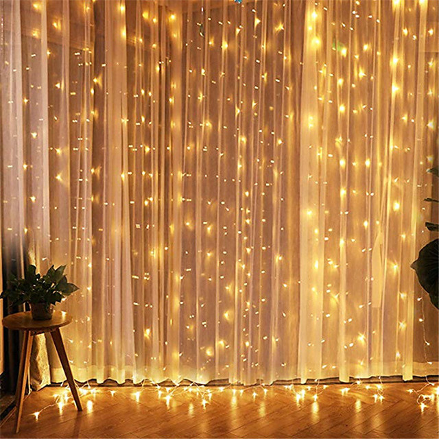 3x3M LED Curtain String Lights Fairy Light Garland For Garden Home Party Curtain Christmas Wedding Valentine's Day Decoration With EU Round Plug