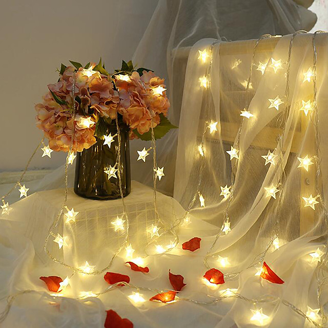 6M 40LED Star String Lights Twinkle Garlands Battery Powered LED Fairy Lights For Christmas Wedding Holiday Party Decorative Lamp Without Battery