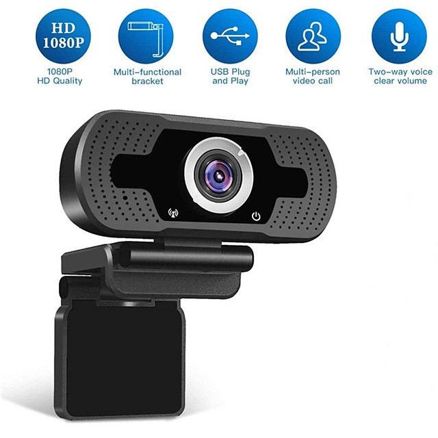 HD USB Webcam 1080p 90° Degree Super Wide Angle Range Low Light Gain Dual Microphones Adjustable Business Conference Webcam Plug and Play No Need Driver Support Windows 7 8 10 Linux MacOS