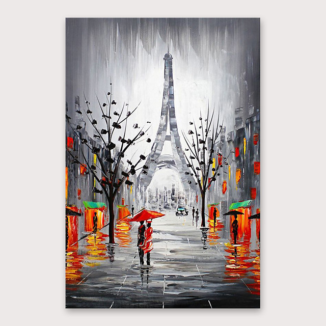 IARTS®Hand Painted Walking under the tower Oil Painting   with Stretched Frame For Home Decoration