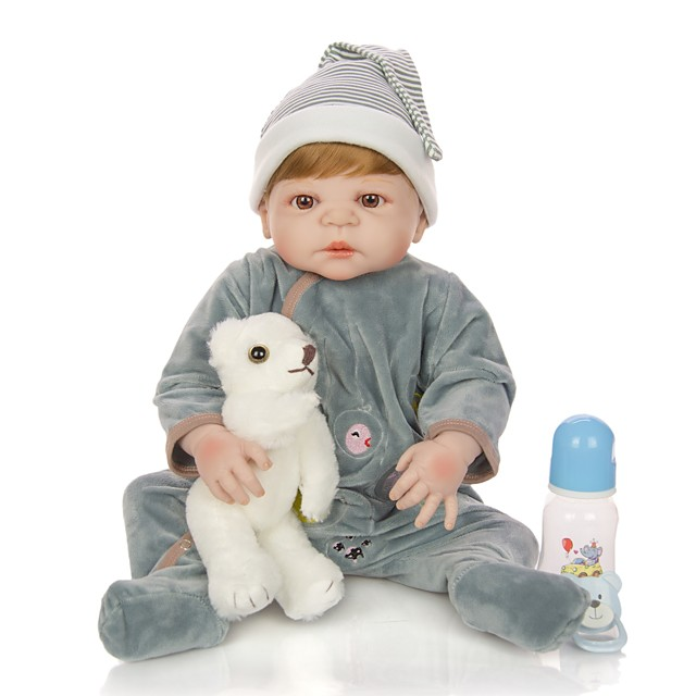 KEIUMI 22 inch Reborn Doll Baby & Toddler Toy Reborn Toddler Doll Baby Boy Gift Cute Lovely Parent-Child Interaction Tipped and Sealed Nails Full Body Silicone 23D54-C228-T19 with Clothes and