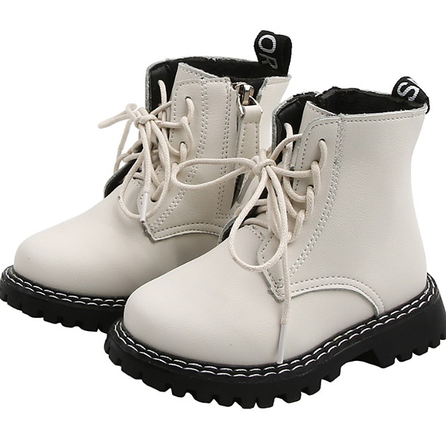 Girls' Comfort Leather Boots Sexy Boots Little Kids(4-7ys) Walking Shoes Split Joint White / Beige Summer / Winter / Mid-Calf Boots