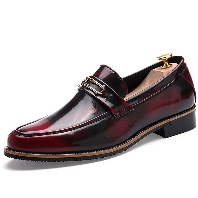 Men's Summer Daily Loafers & Slip-Ons PU Wine / Black / Gold