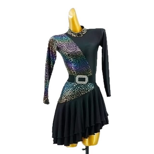 Latin Dance Dress Sash / Ribbon Split Joint Girls' Training Daily Wear Long Sleeve Cotton
