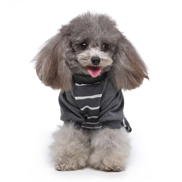 Dog Jumpsuit Pajamas Stripes Casual / Sporty Cute Casual / Daily Weekend Dog Clothes Warm White Black Red Costume Polyester XS S M L XL