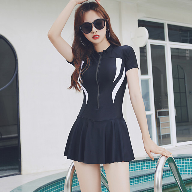 Women's One Piece Swimsuit Nylon Swimwear Breathable Quick Dry Short Sleeve Front Zip - Swimming Patchwork Summer / Stretchy / High Waist