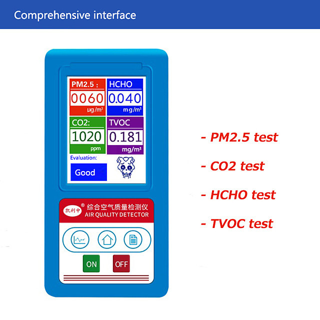 Indoor Air Quality Monitor Tester Gas Analyzer CO2  HCHO  PM2.5  PM10  PM1.0  TVOC Particles Dust Detector Counter PM 2.5