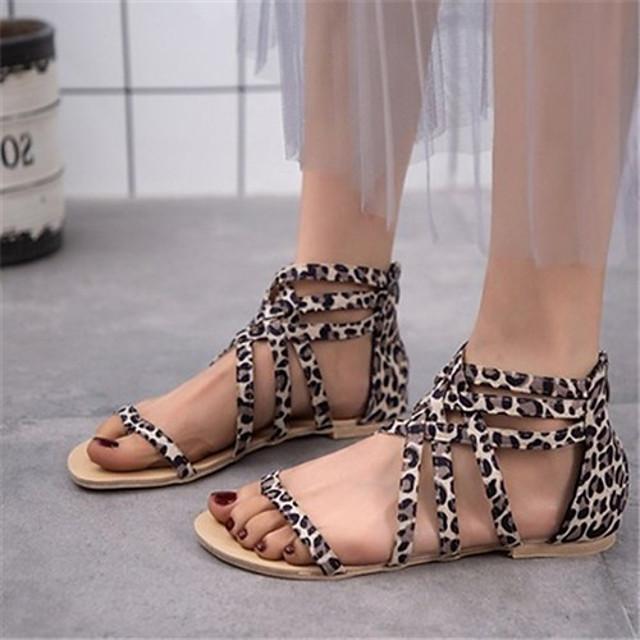 Women's Sandals Roman Shoes / Gladiator Sandals Summer Flat Heel Open Toe Daily Leopard PU Leopard