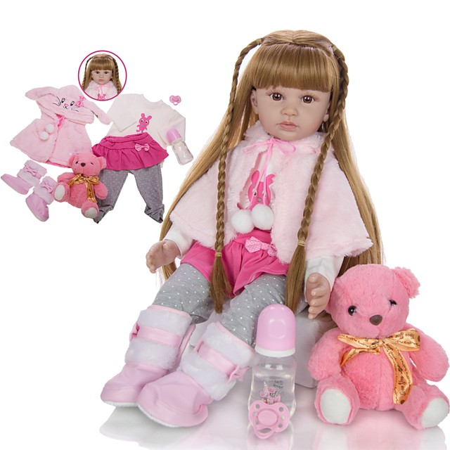 KEIUMI 24 inch Reborn Doll Baby & Toddler Toy Reborn Toddler Doll Baby Girl Gift Cute Lovely Parent-Child Interaction Tipped and Sealed Nails Half Silicone and Cloth Body 24D13-C132-S14-T14 with