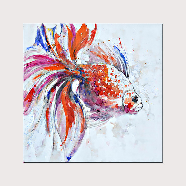 Animal Color Lovely Goldfish 100% Hand-Painted Oil Painting Without Inner Frame Core Wall Art Home Decoration