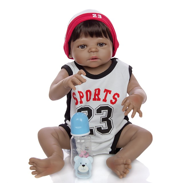 KEIUMI 22 inch Black Dolls Reborn Doll Baby & Toddler Toy Reborn Toddler Doll Baby Boy Gift Cute Washable Lovely Parent-Child Interaction Full Body Silicone KUM23FS01-BW20 with Clothes and Accessories