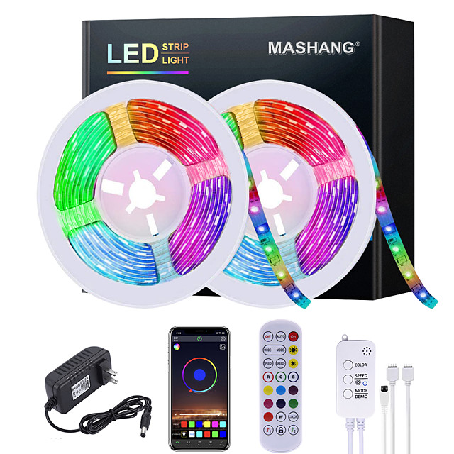 5M 10M 15M 20M LED Strip Lights RGB Waterproof LED Light Strip Music Sync LED 2835 SMD Color Changing LED Strip Light and 24 Keys Remote Bluetooth Controller for Bedroom Home TV Back Lights