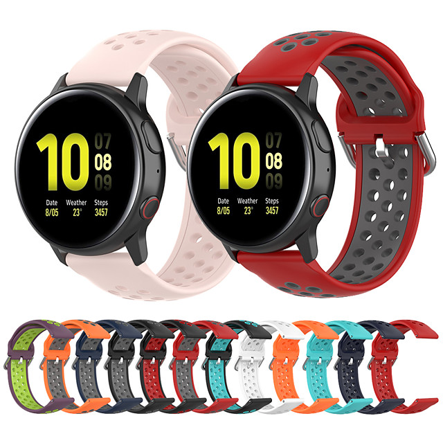 Silicone Wrist Strap Watch Band for Samsung Galaxy Watch 42mm / Galaxy Active 2 42mm 44mm / Galaxy Active R500 / Gear S2 Classic / Gear Sport Replaceable Bracelet Wristband