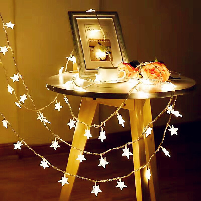 3M 20LED Star String Light Twinkle Garlands Battery Powered LED Fairy Lights For Christmas Wedding Holiday Party Decorative Lamp Without Battery