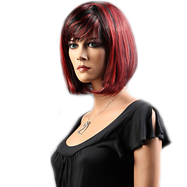 Cosplay Costume Wig Synthetic Wig Straight Bob Neat Bang With Bangs Wig Short Black Black / Red Rainbow Synthetic Hair 12 inch Women's Women Synthetic Sexy Lady Black Mixed Color hairjoy