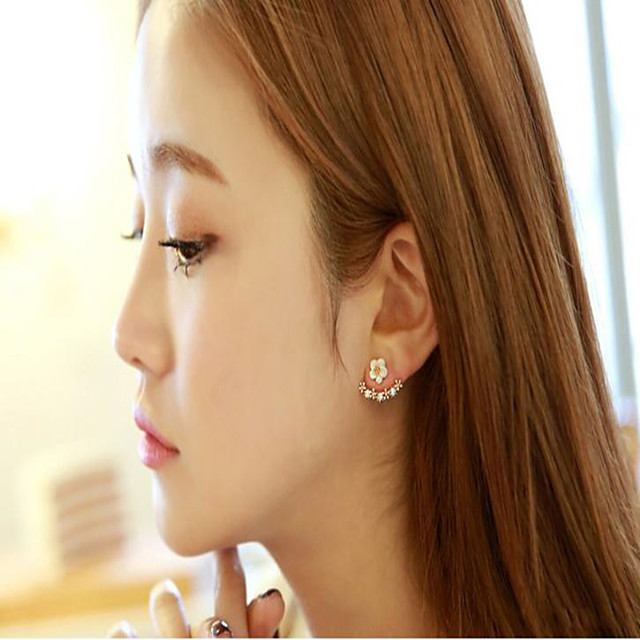 Sterling Silver Stud Earrings with Sparkling Glitter 1 Pair Wedding / Daily Wear Headpiece