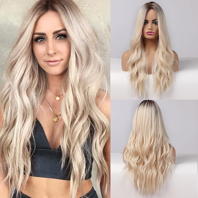 Synthetic Wig Curly Natural Wave Middle Part Side Part Wig Very Long Ombre Blonde Synthetic Hair 26 inch Women's Fashionable Design Cosplay Party Blonde Ombre BLONDE UNICORN / African American Wig