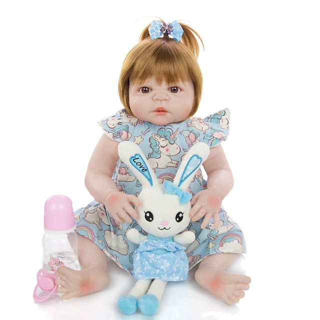 KEIUMI 22 inch Reborn Doll Baby & Toddler Toy Reborn Toddler Doll Baby Girl Gift Cute Washable Lovely Parent-Child Interaction Full Body Silicone 23D03-C327-H99-T22 with Clothes and Accessories for
