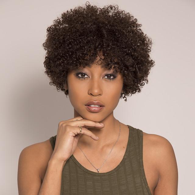 Remy Human Hair Wig Short Afro Curly Asymmetrical Brown Easy to Carry Women New Capless Brazilian Hair Burmese Hair Women's Medium Brown#4 14 inch