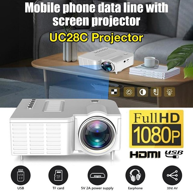 UC28C Portable Video Projector Office Supplie LCD Mini Projector Media Player For Smart Phones