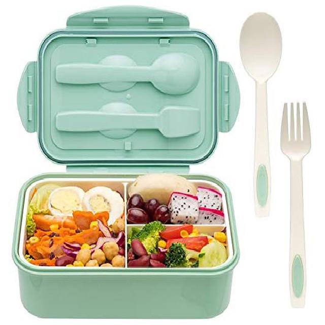 صندوق غداء بينتو 1.1 لتر للأطفال والكبار مع ملعقة وشوكة متين ومقاوم للحرارة ومقاوم للتسرب وخالي من البيسفينول والمواد الآمنة للطعام