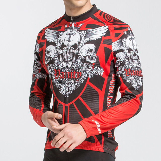 TASDAN Men's Long Sleeve Cycling Jersey Polyester Red Novelty Skull Funny Bike Jersey Top Mountain Bike MTB Road Bike Cycling Breathable Quick Dry Reflective Strips Sports Clothing Apparel / Stretchy