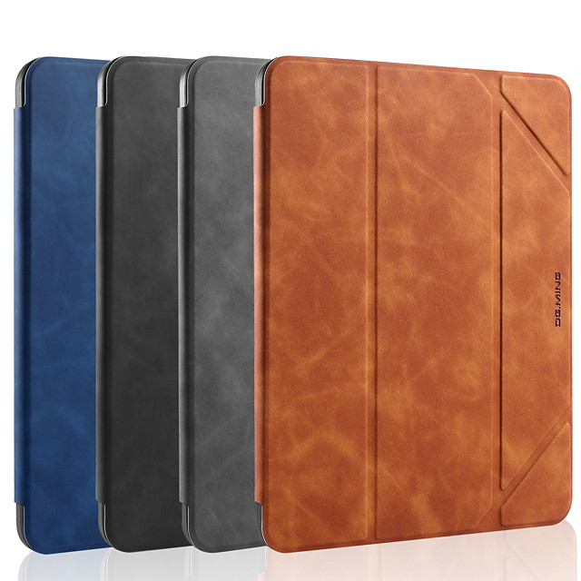 Case For Apple iPad 9.7 10.2 10.5 pro2018 pro2020 Shockproof  Flip Auto Sleep Wake Up Full Body Cases Solid Colored PU Leather TPU