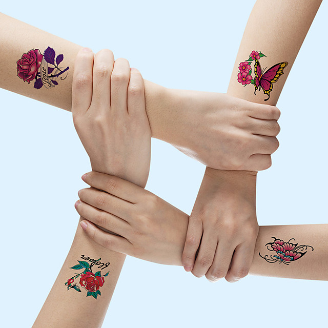 21 pcs/set Temporary TattoosTattoo Designs Flower Tattoo Designs Roses, Butterflies and Multi-Colored Mixed Style Body Art Temporary Tattoos for Women, Girls or Kids