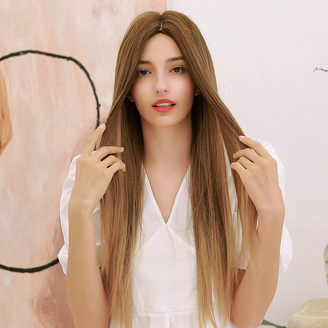 Synthetic Wig Yaki Straight Natural Straight Middle Part Side Part Wig Very Long Ombre Blonde Ombre Brown Synthetic Hair 28 inch Women's Cosplay Ombre Hair Middle Part Brown Ombre BLONDE UNICORN