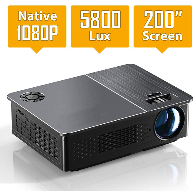 1080P Projector HD Video Projector 5800 Lux LED Movie Projector with 200 Display Compatible with TV Stick HDMI VGA USB iPad PC Xbox iPhone for Home Theater Entertainment
