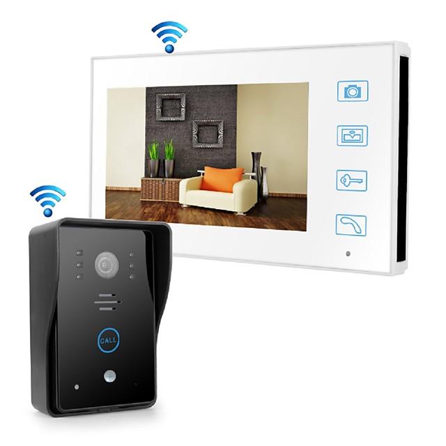 Wireless 2.4GHz 7 inch Hands-free 800*480 Pixel with PIR Motion Detect video doorphone