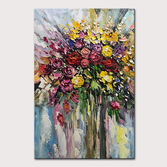 Mintura Hand Painted Abstract Flowers Oil Painting on Canvas Modern Wall Picture Pop Art Posters For Home Decoration Ready To Hang With Stretched Frame