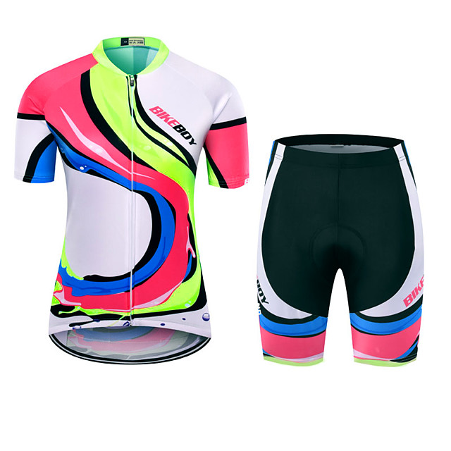 BIKEBOY Women's Short Sleeve Cycling Jersey with Shorts Polyester Fuchsia Stripes Patchwork Bike Clothing Suit Breathable 3D Pad Quick Dry Reflective Strips Back Pocket Sports Stripes Mountain Bike