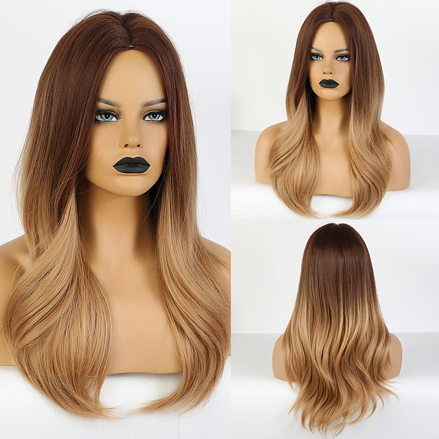 Synthetic Wig kinky Straight Layered Haircut Wig Medium Length Synthetic Hair 20 inch Women's Fashionable Design Cute Women Blonde