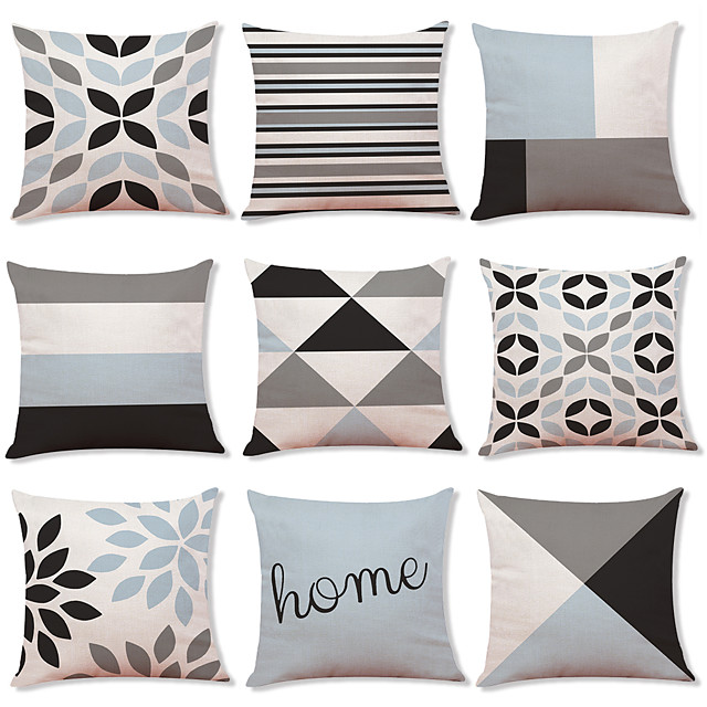 1 Set of 9 pcs Modern Geometry Series  Decorative Linen Throw Pillow Cover Home Sofa Decorative Outdoor Cushion for Sofa Couch Bed Chair