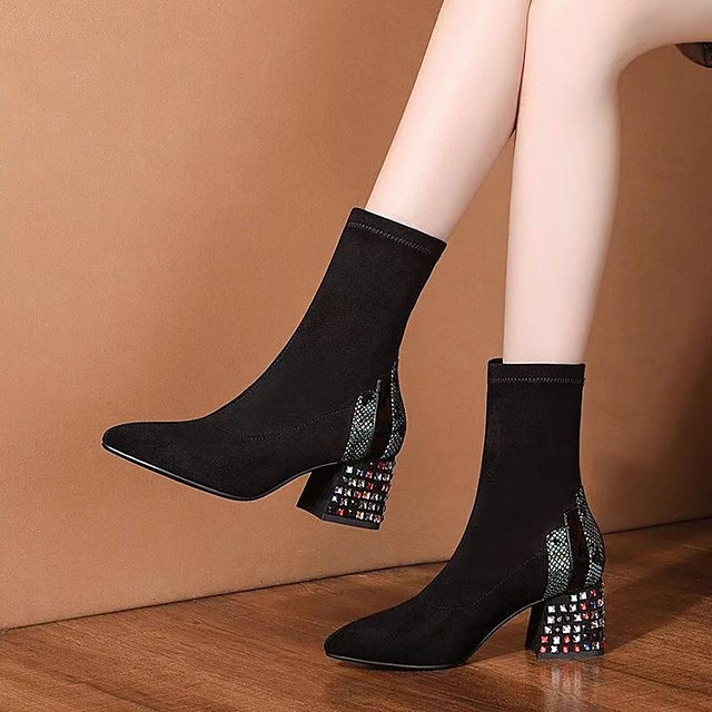 Women's Boots Cuban Heel Pointed Toe Casual Basic Daily Rhinestone Suede Mid-Calf Boots Walking Shoes Black