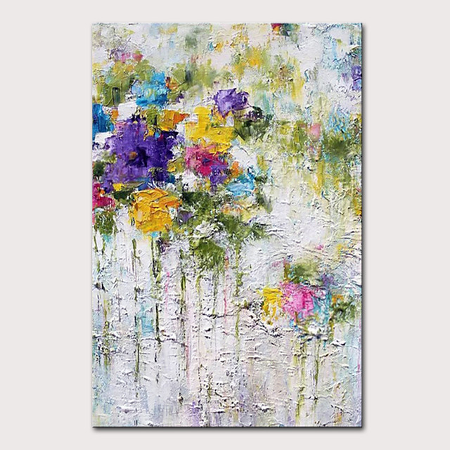 Mintura Hand Painted Modern Abstract Flowers Oil Paintings on Canvas Wall Picture Pop Art Posters For Home Decoration Ready To Hang With Stretched Frame