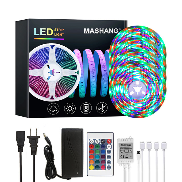 20M LED Strip Lights RGB Tiktok Lights Waterproof 1200LEDs Flexible Color Change 2835 with 24 Keys IR Remote Controller and 100-240V Adapter for Home Bedroom TV Back Lights DIY Deco